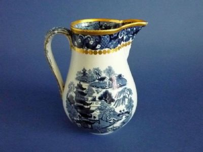 Large Davenport Stone China 'Two Temples' Willow Pattern Jug c1830 (Sold)